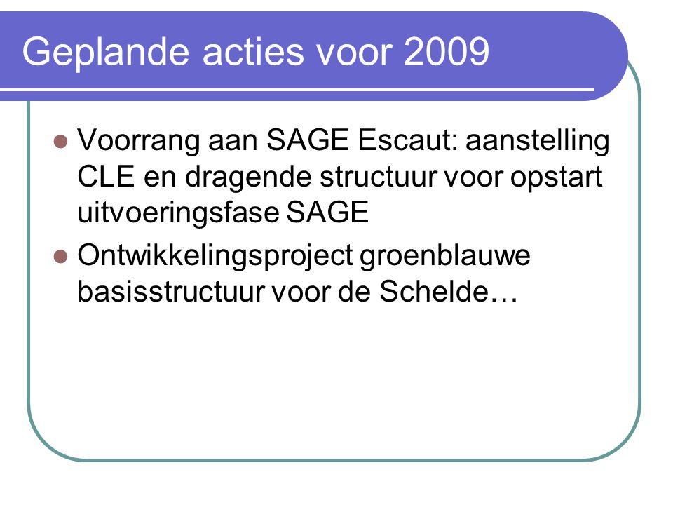 Geplande acties voor 2009 Voorrang aan SAGE Escaut: aanstelling CLE en dragende structuur voor opstart uitvoeringsfase SAGE Ontwikkelingsproject groenblauwe basisstructuur voor de Schelde…