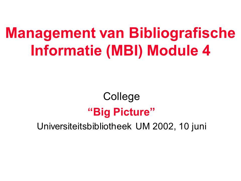 Management van Bibliografische Informatie (MBI) Module 4 College Big Picture Universiteitsbibliotheek UM 2002, 10 juni