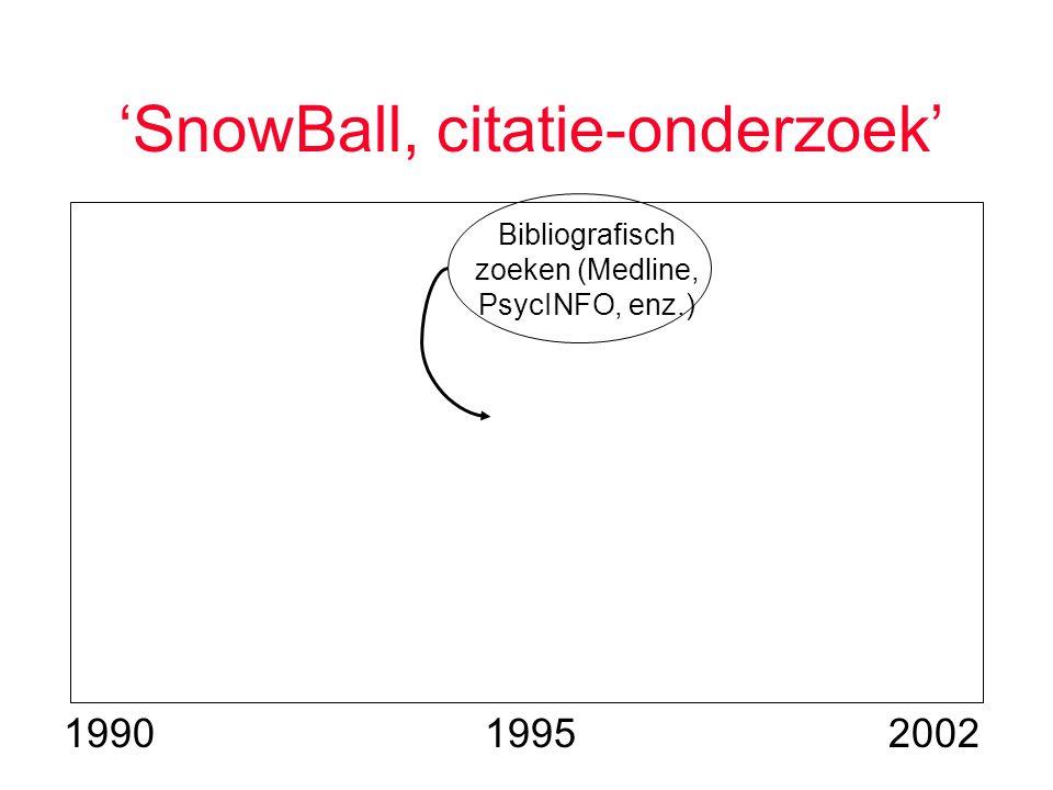 'SnowBall, citatie-onderzoek' 19951990 Bibliografisch zoeken (Medline, PsycINFO, enz.) 2002