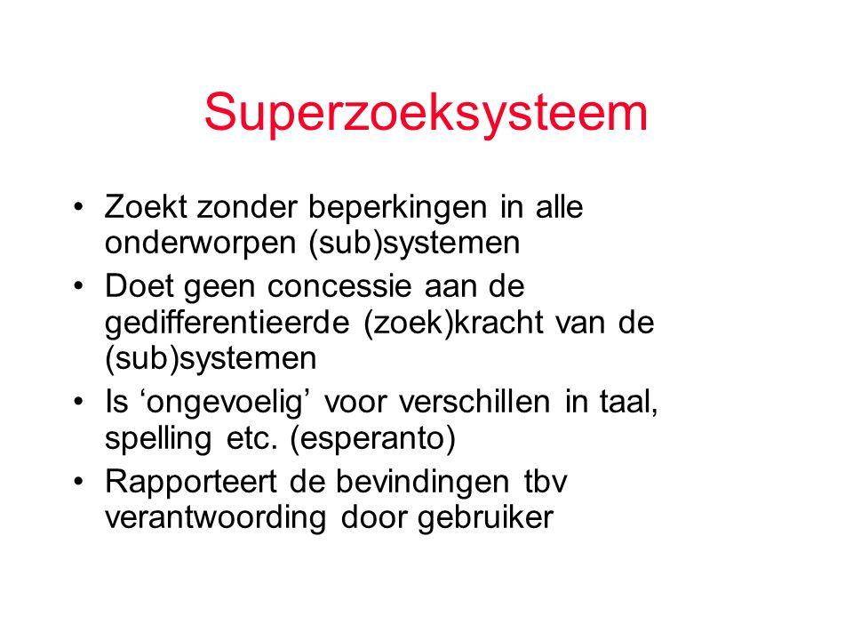 Superzoeksysteem Zoekt zonder beperkingen in alle onderworpen (sub)systemen Doet geen concessie aan de gedifferentieerde (zoek)kracht van de (sub)systemen Is 'ongevoelig' voor verschillen in taal, spelling etc.