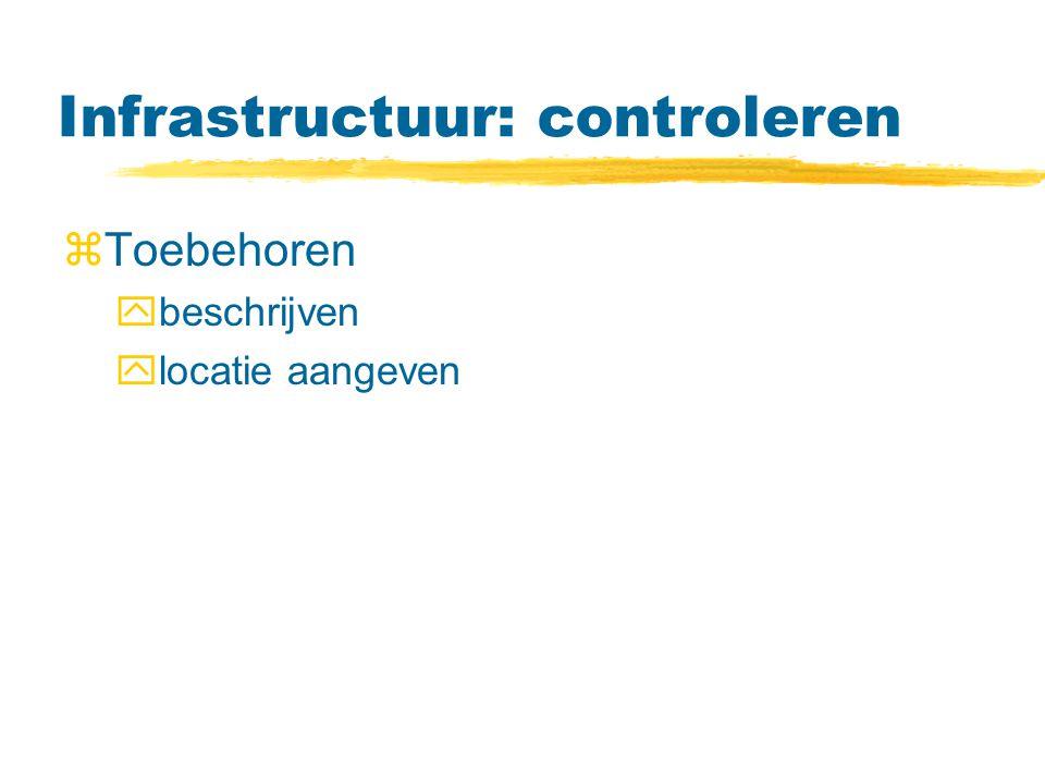 Infrastructuur: controleren zToebehoren ybeschrijven ylocatie aangeven