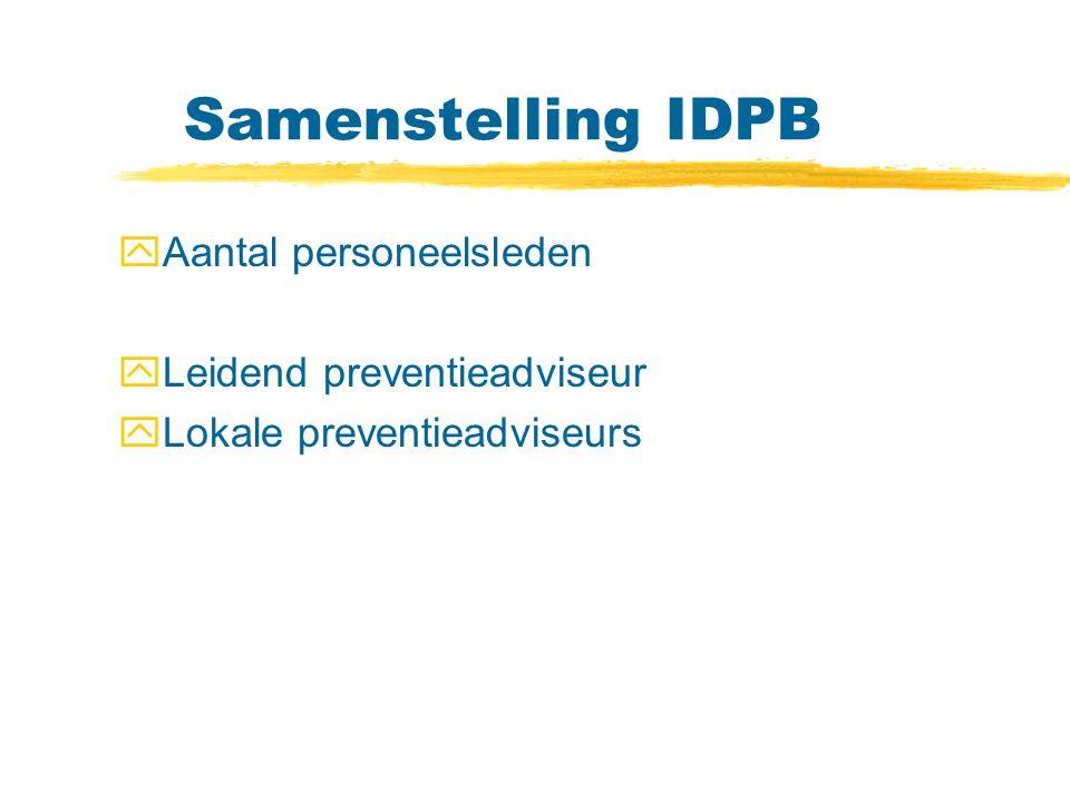 Samenstelling IDPB yAantal personeelsleden yLeidend preventieadviseur yLokale preventieadviseurs