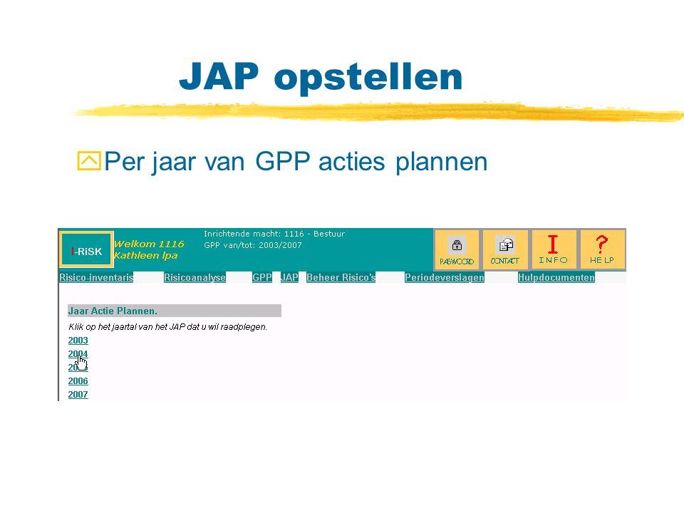 JAP opstellen yPer jaar van GPP acties plannen