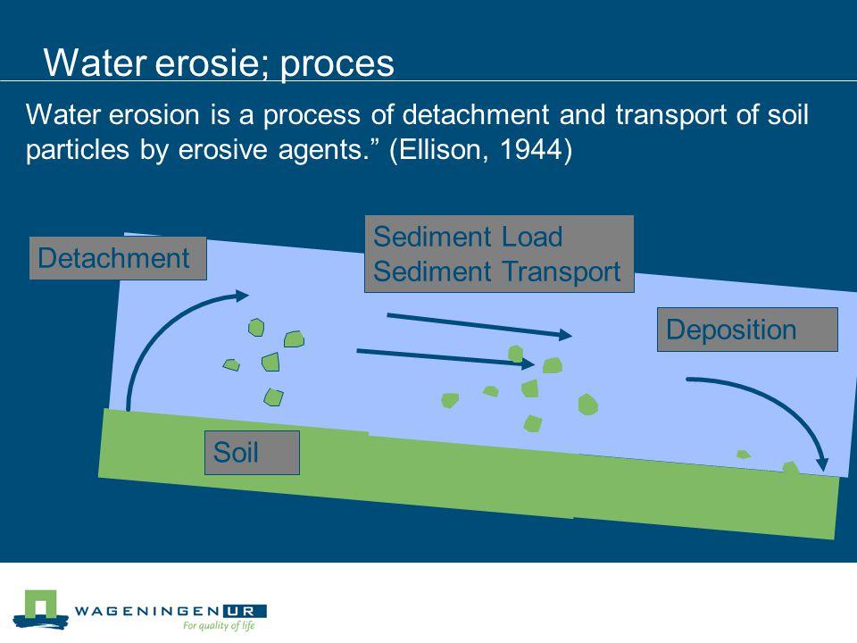 Water erosie; proces Soil Detachment Deposition Sediment Load Sediment Transport Water erosion is a process of detachment and transport of soil partic
