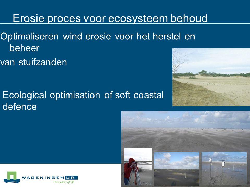 Erosie proces voor ecosysteem behoud Optimaliseren wind erosie voor het herstel en beheer van stuifzanden Ecological optimisation of soft coastal defe