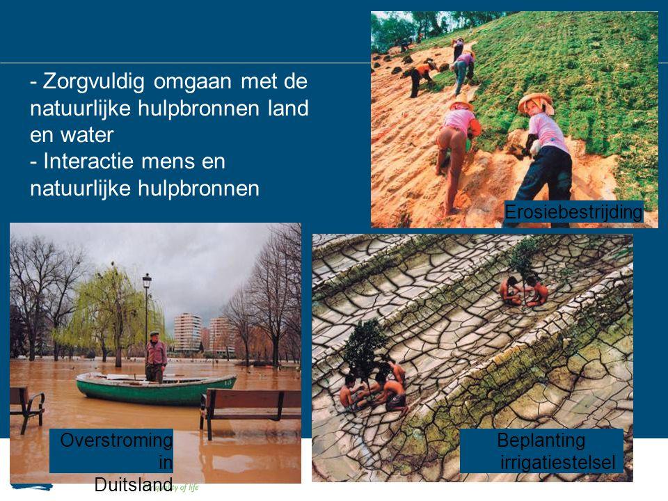 - Zorgvuldig omgaan met de natuurlijke hulpbronnen land en water - Interactie mens en natuurlijke hulpbronnen Overstroming in Duitsland Erosiebestrijd