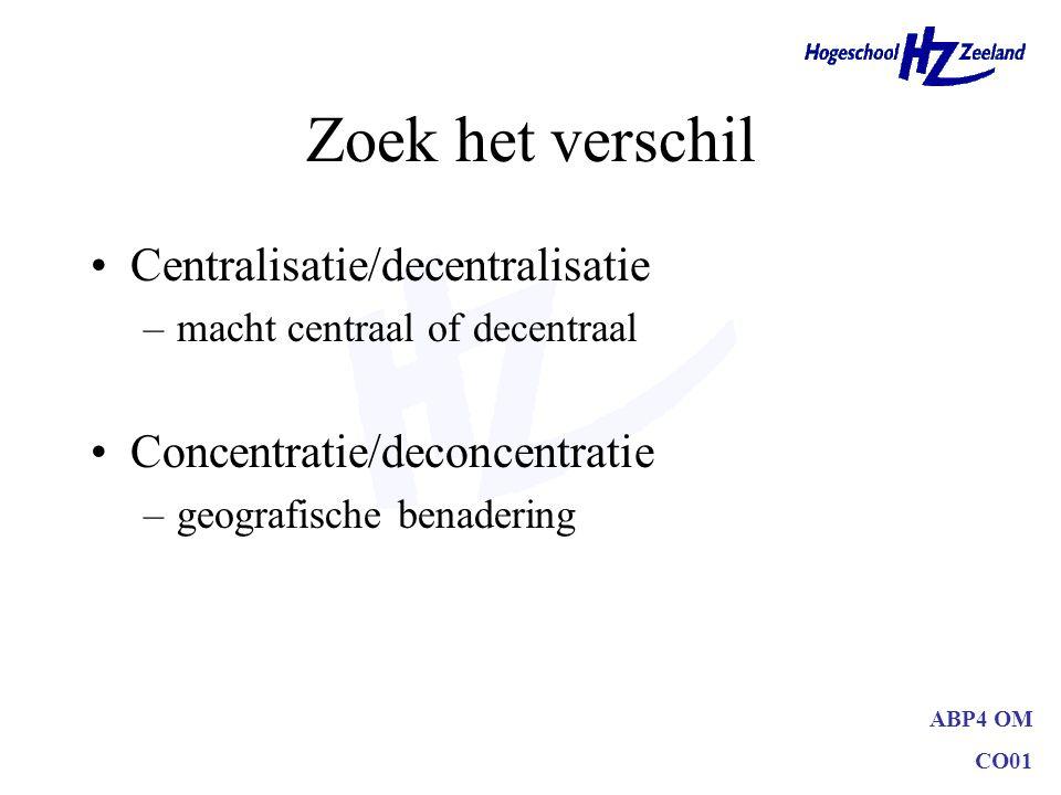 ABP4 OM CO01 Zoek het verschil Centralisatie/decentralisatie –macht centraal of decentraal Concentratie/deconcentratie –geografische benadering