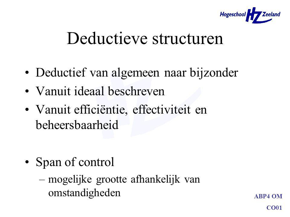 ABP4 OM CO01 Deductieve structuren Deductief van algemeen naar bijzonder Vanuit ideaal beschreven Vanuit efficiëntie, effectiviteit en beheersbaarheid