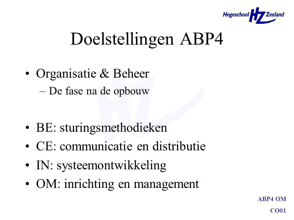 ABP4 OM CO01 Doelstellingen ABP4 Organisatie & Beheer –De fase na de opbouw BE: sturingsmethodieken CE: communicatie en distributie IN: systeemontwikk