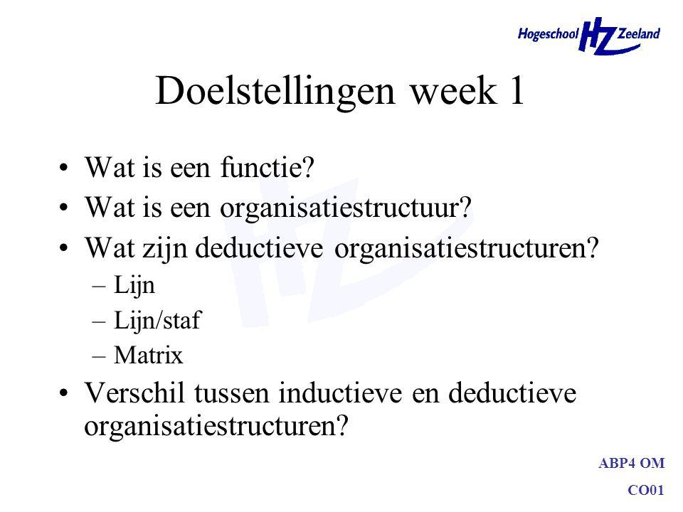 ABP4 OM CO01 Doelstellingen week 1 Wat is een functie? Wat is een organisatiestructuur? Wat zijn deductieve organisatiestructuren? –Lijn –Lijn/staf –M