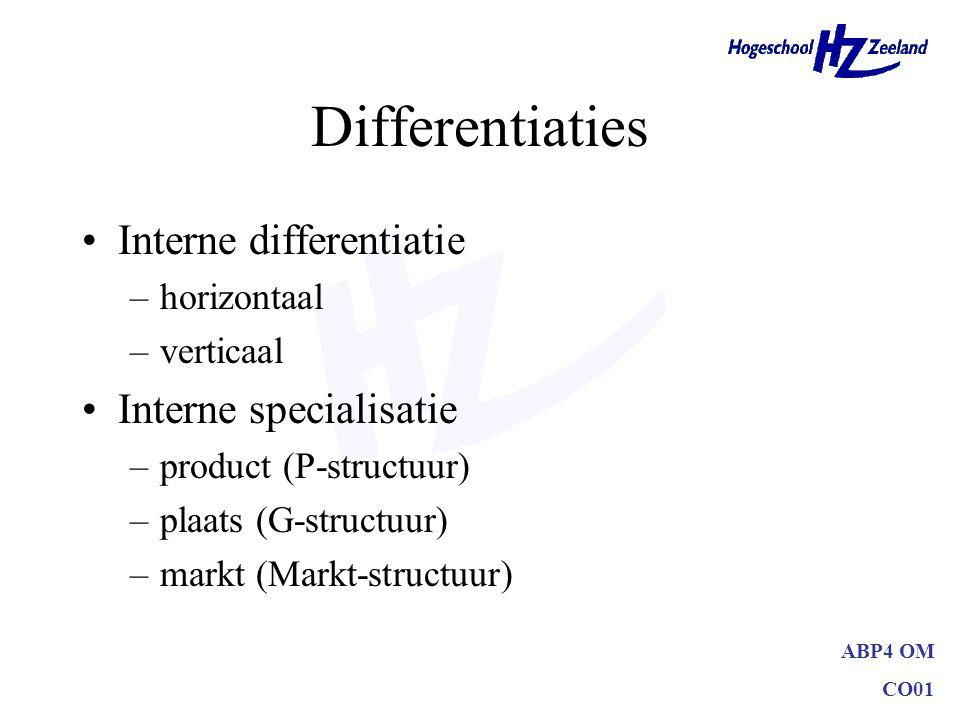 ABP4 OM CO01 Differentiaties Interne differentiatie –horizontaal –verticaal Interne specialisatie –product (P-structuur) –plaats (G-structuur) –markt