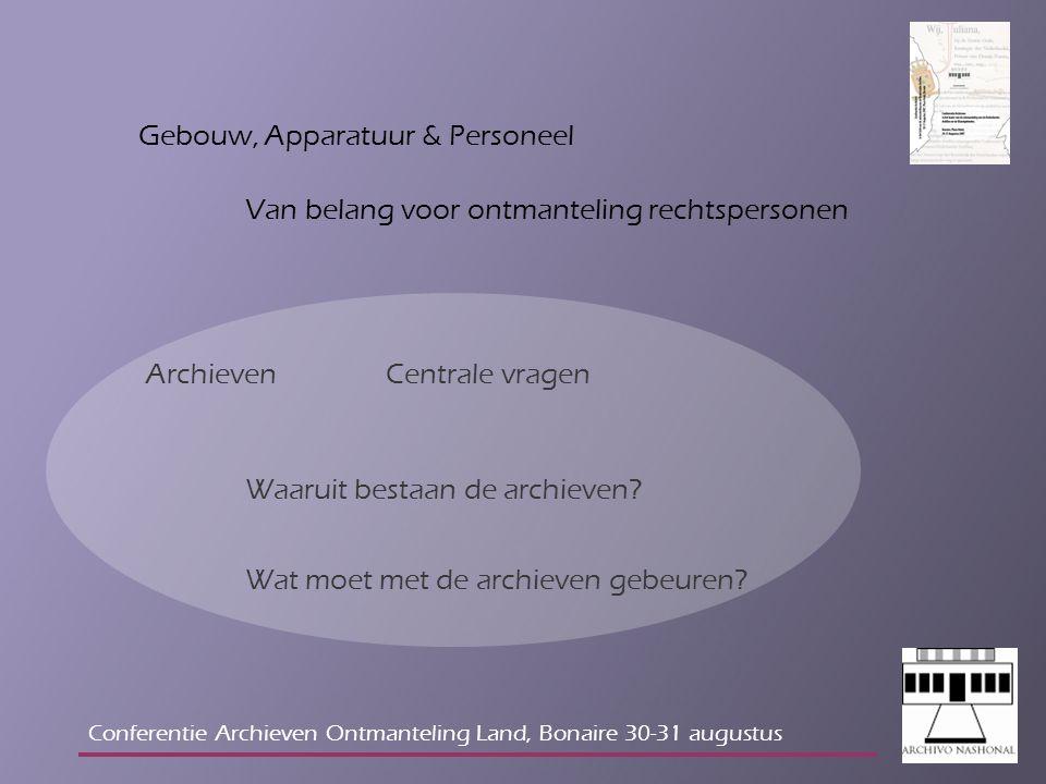 Gebouw, Apparatuur & Personeel Van belang voor ontmanteling rechtspersonen Archieven Waaruit bestaan de archieven.