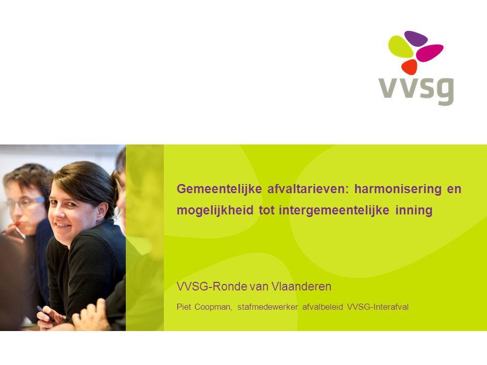 VVSG - Berekeningsmethodiek (4) Samengevat: Vervuiler betaalt Gebaseerd op werkelijke kosten en kostprijs specifieke dienstverlening Kostenlijst Producentenverantwoordelijkheid en subsidies Minima en maxima Vlaamse overheid kan berekening opvragen