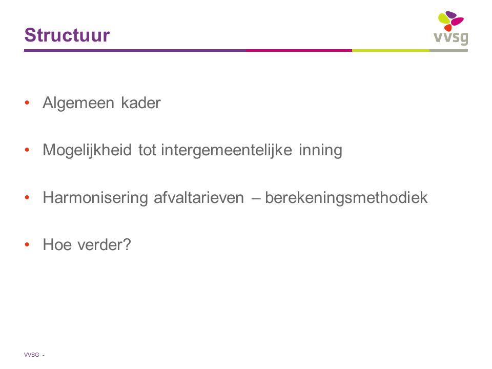 VVSG - Berekeningsmethodiek (5) Lokale invulling vast/variabel blijft mogelijk Sociale correcties blijven mogelijk Vlaanderen legt geen tarieven op Vlaanderen creëert de facto een harmonisatie Minima en maxima?
