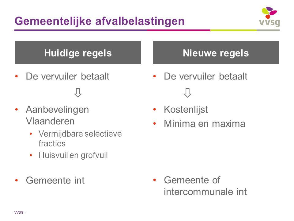 VVSG - Huidige regels De vervuiler betaalt  Aanbevelingen Vlaanderen Vermijdbare selectieve fracties Huisvuil en grofvuil Gemeente int Nieuwe regels De vervuiler betaalt  Kostenlijst Minima en maxima Gemeente of intercommunale int Gemeentelijke afvalbelastingen