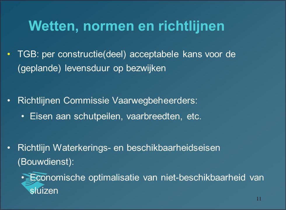 11 TGB: per constructie(deel) acceptabele kans voor de (geplande) levensduur op bezwijken Richtlijnen Commissie Vaarwegbeheerders: Eisen aan schutpeilen, vaarbreedten, etc.