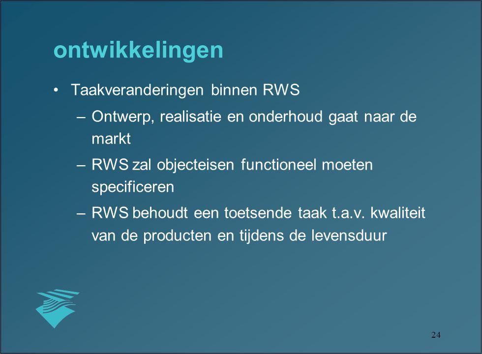 24 ontwikkelingen Taakveranderingen binnen RWS –Ontwerp, realisatie en onderhoud gaat naar de markt –RWS zal objecteisen functioneel moeten specificeren –RWS behoudt een toetsende taak t.a.v.