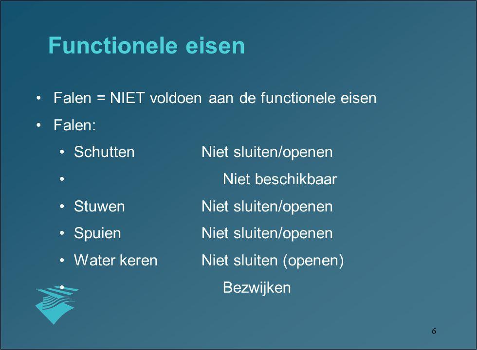 17 Voorschrift Toetsing Veiligheid –Opgesteld door TAW –Verplichting voor beheerders van primaire waterkeringen om de veiligheid van de dijken, duinen en kunstwerken vijf-jaarlijks te toetsen (APK keuring) –Geeft een kwalitatief oordeel over de veiligheid van de waterkering –Aspecten: hoogte, niet-sluiten, sterkte en stabiliteit –Gespiegeld aan de norm-eis 1/1250, 1/2000, 1/4000 of 1/10000 per jaar –Vereist betrouwbare gegevens van het object