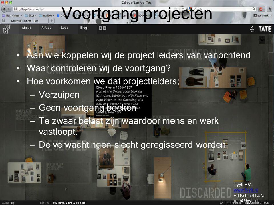 Voortgang projecten Aan wie koppelen wij de project leiders van vanochtend Waar controleren wij de voortgang? Hoe voorkomen we dat projectleiders; – V