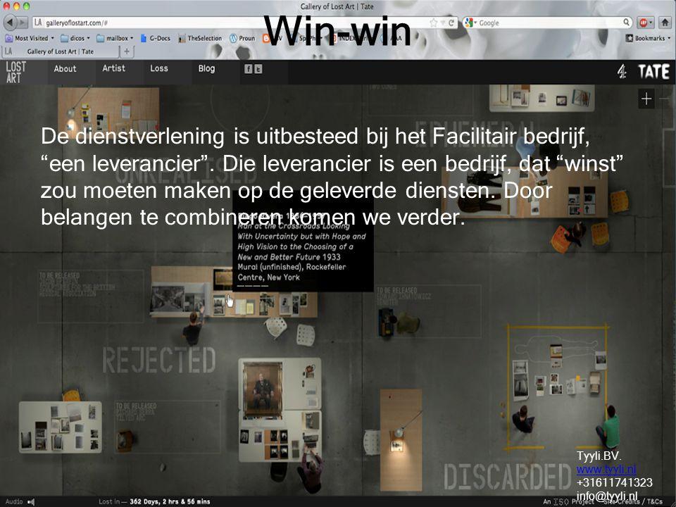 Win-win De dienstverlening is uitbesteed bij het Facilitair bedrijf, een leverancier .