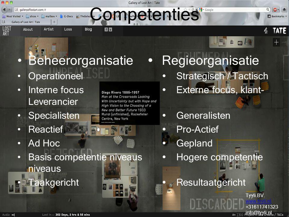 Competenties Beheerorganisatie  Regieorganisatie Operationeel  Strategisch / Tactisch Interne focus  Externe focus, klant- Leverancier Specialisten