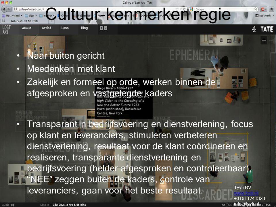 Cultuur-kenmerken regie Naar buiten gericht Meedenken met klant Zakelijk en formeel op orde, werken binnen de afgesproken en vastgelegde kaders Transp