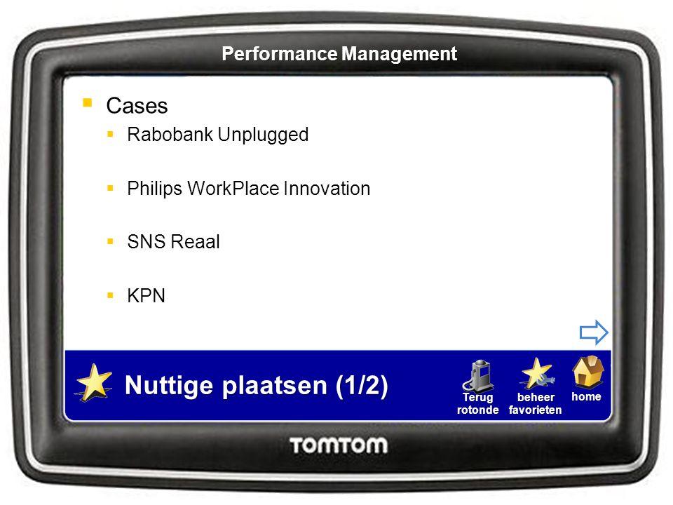 homebeheerfavorietenTerugrotonde Nuttige plaatsen (1/2)  Cases  Rabobank Unplugged  Philips WorkPlace Innovation  SNS Reaal  KPN Performance Mana