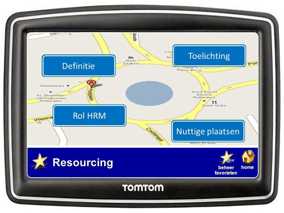 homebeheerfavorieten Resourcing Definitie Nuttige plaatsenToelichting Rol HRM