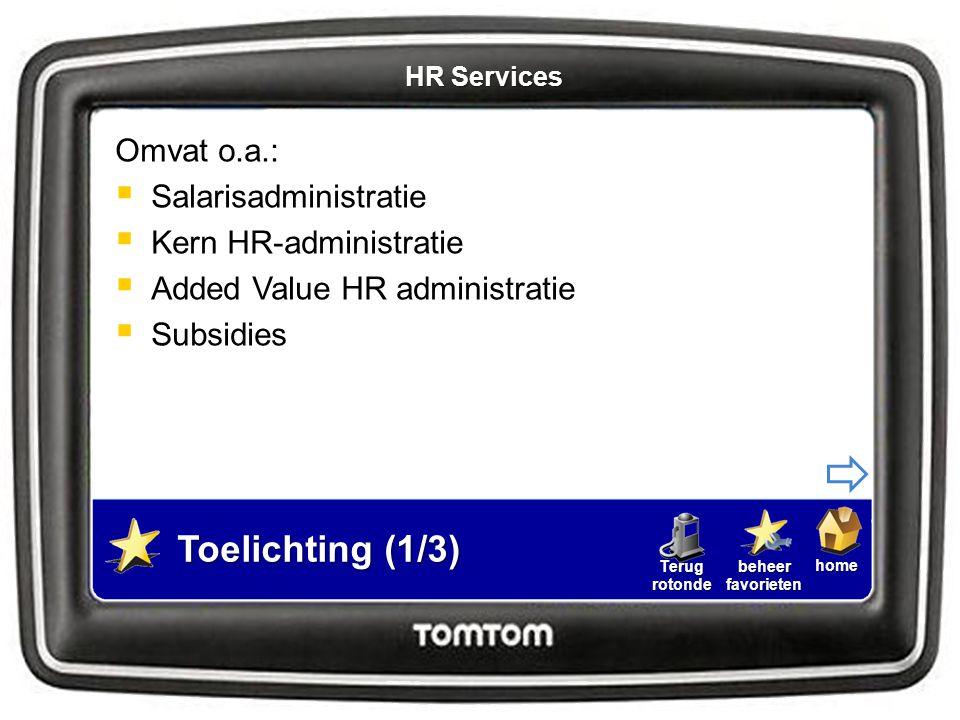 homebeheerfavorietenTerugrotonde Goede organisatie HR Services essentieel  Altijd en overal toegang tot relevante info  Gestandaardiseerde en geautomatiseerde processen  Employee Self Service (ESS)  Manager Self Service (MSS) Toelichting (2/3) HR Services