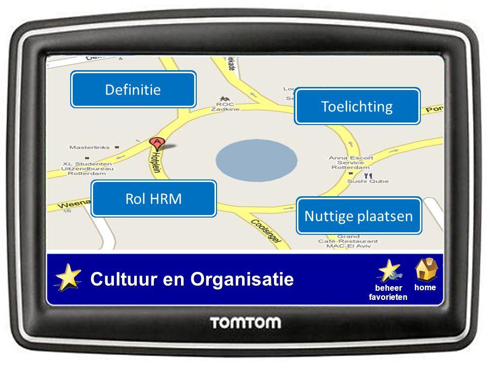 homebeheerfavorieten Cultuur en Organisatie DefinitieNuttige plaatsenToelichtingRol HRM