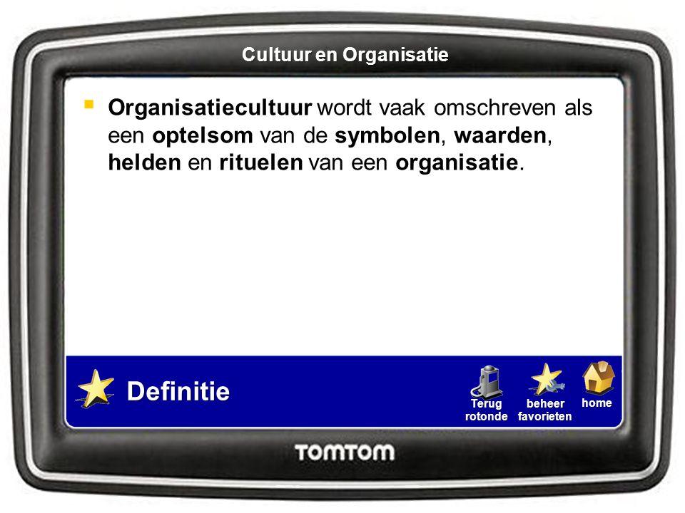 homebeheerfavorietenTerugrotonde  Organisatiecultuur wordt vaak omschreven als een optelsom van de symbolen, waarden, helden en rituelen van een orga