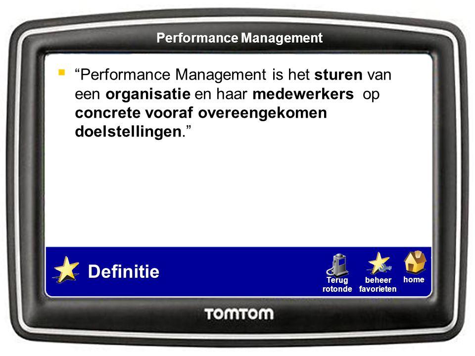 """homebeheerfavorietenTerugrotonde Definitie  """"Performance Management is het sturen van een organisatie en haar medewerkers op concrete vooraf overeeng"""