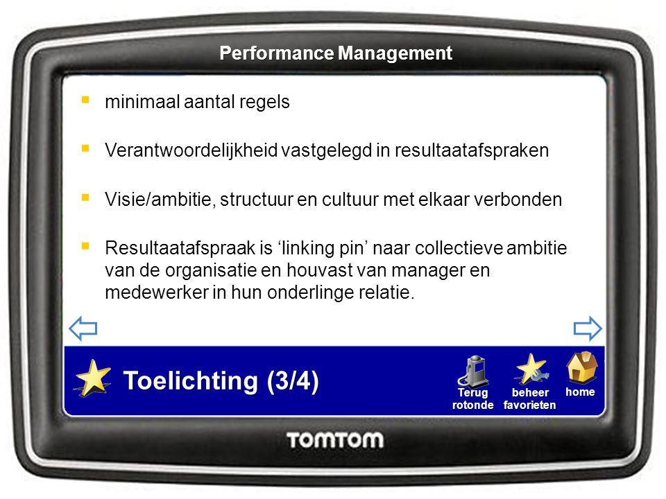 homebeheerfavorietenTerugrotonde  Sturen op performance  Heldere, meetbare doelstellingen  Medewerker krijgt autonomie bij uitvoering doelstellingen Toelichting (4/4) Performance Management
