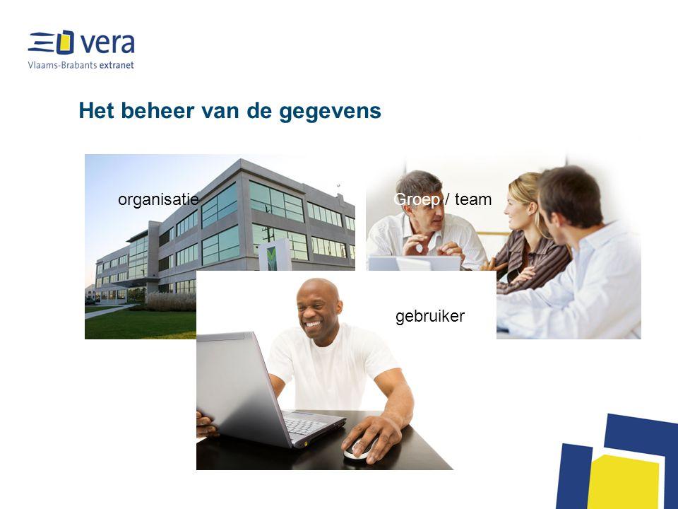 Het beheer van de gegevens organisatieGroep / team gebruiker