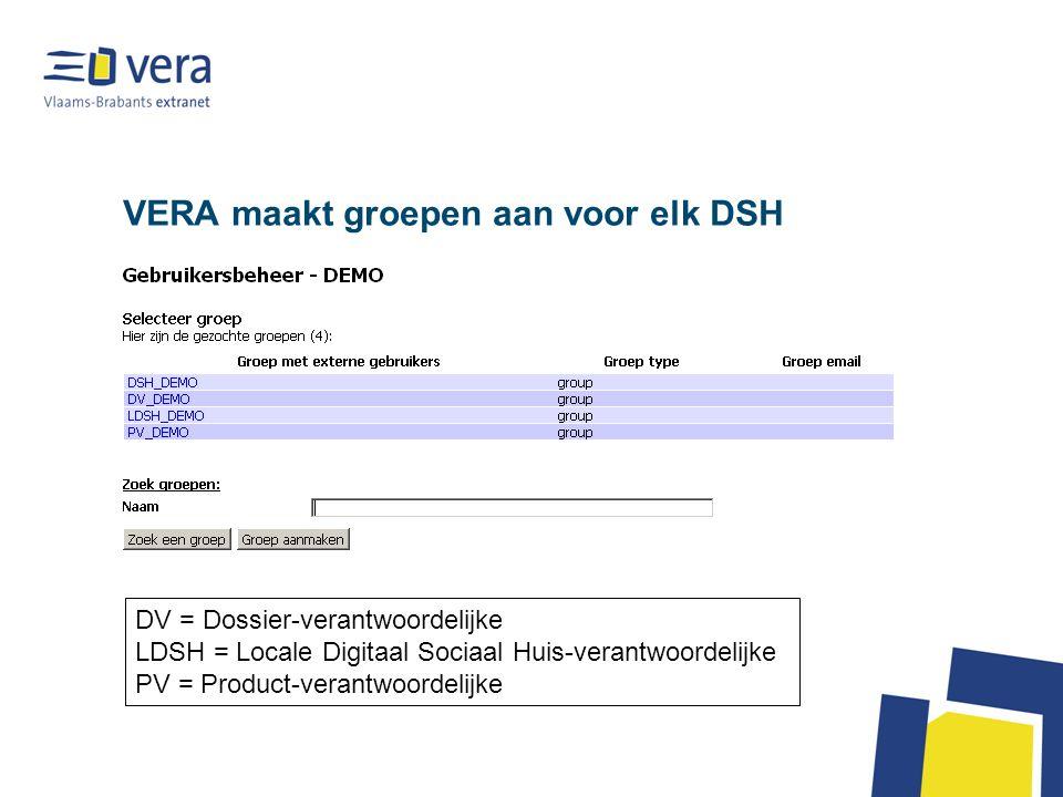 VERA maakt groepen aan voor elk DSH DV = Dossier-verantwoordelijke LDSH = Locale Digitaal Sociaal Huis-verantwoordelijke PV = Product-verantwoordelijke
