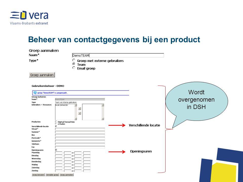 Beheer van contactgegevens bij een product Wordt overgenomen in DSH