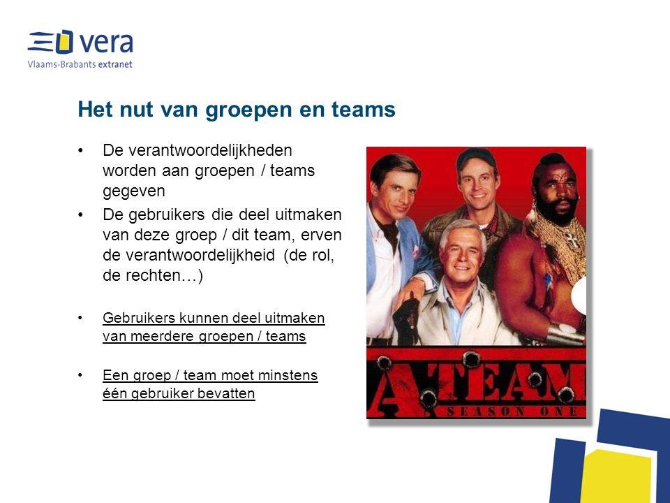Het nut van groepen en teams De verantwoordelijkheden worden aan groepen / teams gegeven De gebruikers die deel uitmaken van deze groep / dit team, erven de verantwoordelijkheid (de rol, de rechten…) Gebruikers kunnen deel uitmaken van meerdere groepen / teams Een groep / team moet minstens één gebruiker bevatten