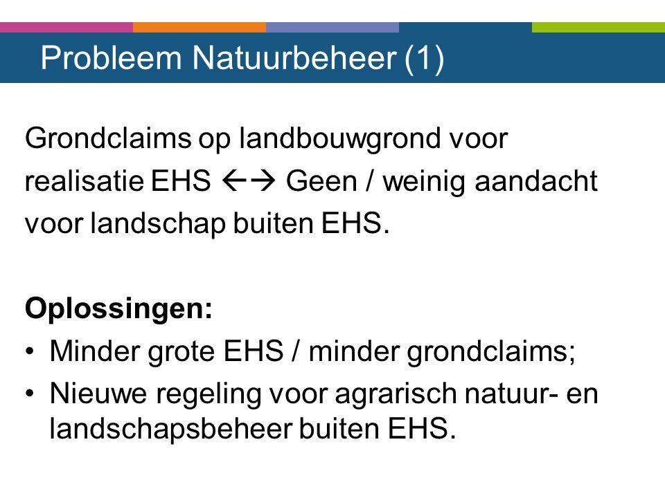 Probleem Natuurbeheer (1) Grondclaims op landbouwgrond voor realisatie EHS  Geen / weinig aandacht voor landschap buiten EHS. Oplossingen: Minder gr