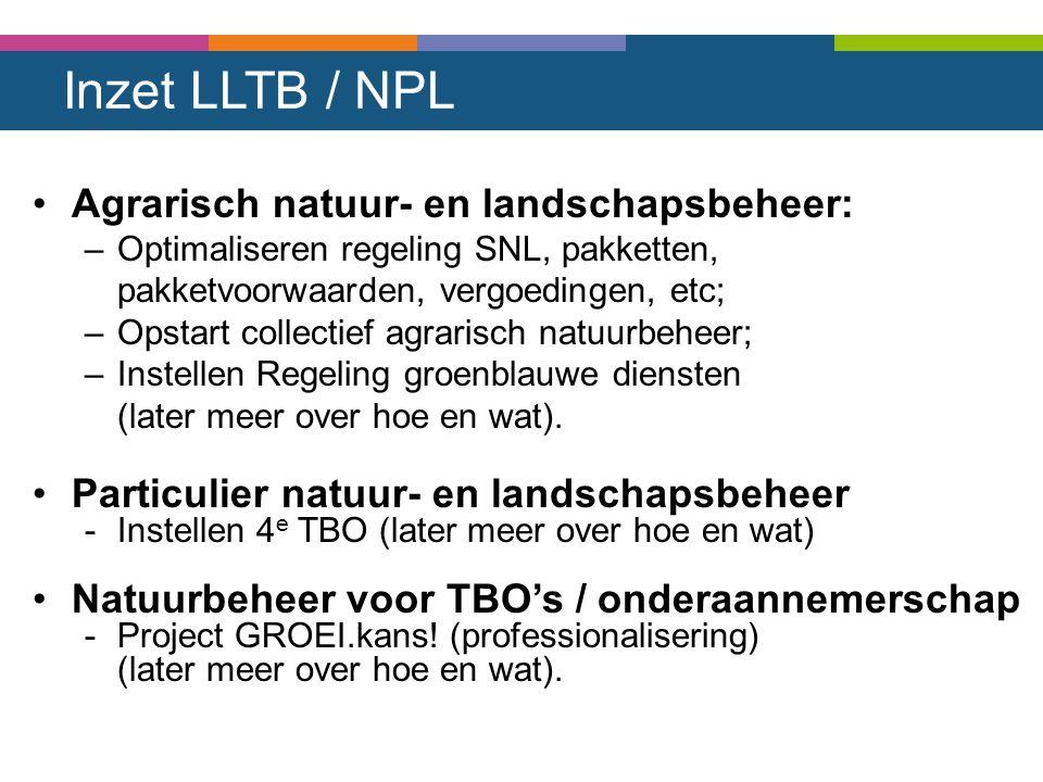 Inzet LLTB / NPL Agrarisch natuur- en landschapsbeheer: –Optimaliseren regeling SNL, pakketten, pakketvoorwaarden, vergoedingen, etc; –Opstart collect