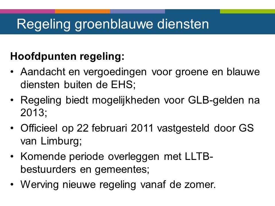 Regeling groenblauwe diensten Hoofdpunten regeling: Aandacht en vergoedingen voor groene en blauwe diensten buiten de EHS; Regeling biedt mogelijkhede