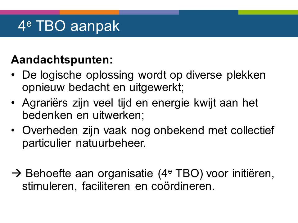 4 e TBO aanpak Aandachtspunten: De logische oplossing wordt op diverse plekken opnieuw bedacht en uitgewerkt; Agrariërs zijn veel tijd en energie kwij
