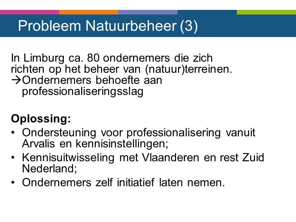 Probleem Natuurbeheer (3) In Limburg ca. 80 ondernemers die zich richten op het beheer van (natuur)terreinen.  Ondernemers behoefte aan professionali