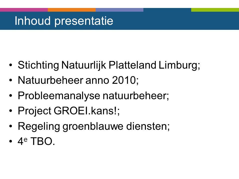 Inhoud presentatie Stichting Natuurlijk Platteland Limburg; Natuurbeheer anno 2010; Probleemanalyse natuurbeheer; Project GROEI.kans!; Regeling groenb