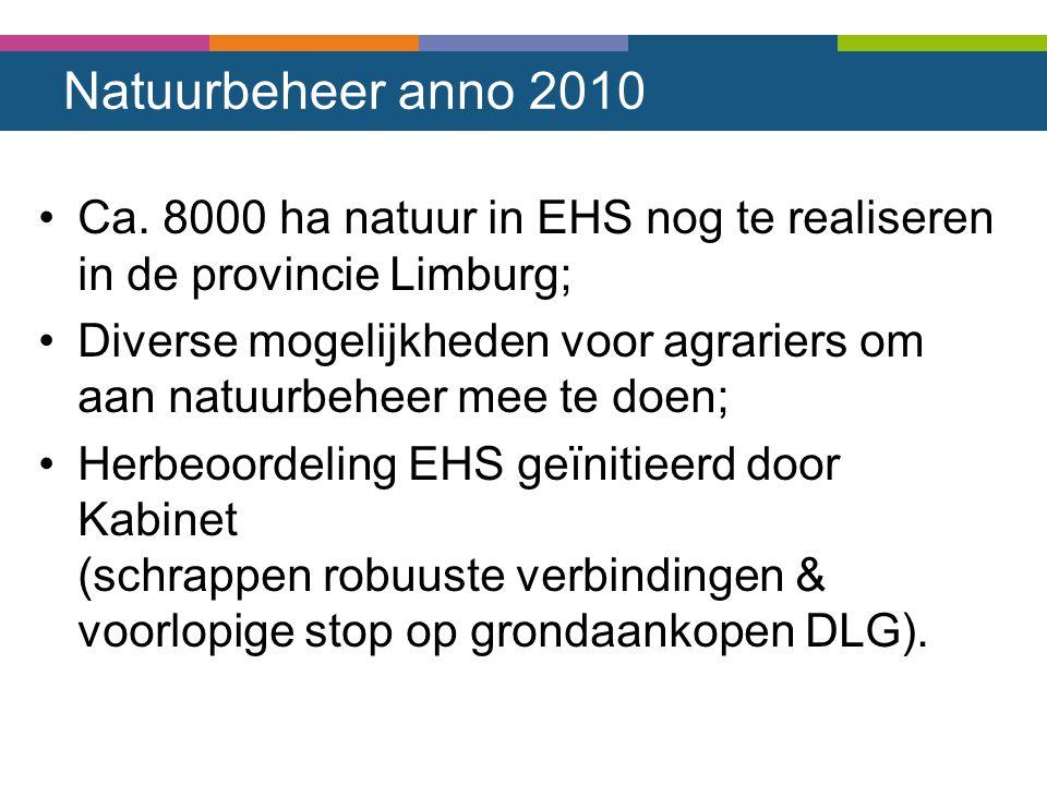 Natuurbeheer anno 2010 Ca. 8000 ha natuur in EHS nog te realiseren in de provincie Limburg; Diverse mogelijkheden voor agrariers om aan natuurbeheer m