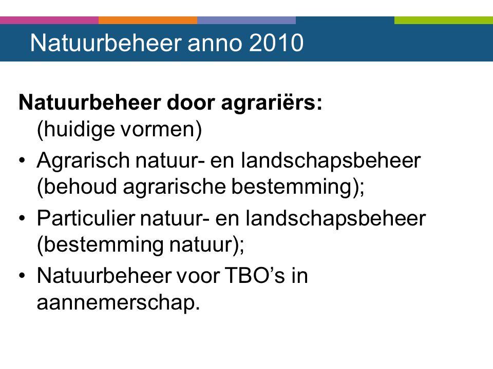 Natuurbeheer anno 2010 Natuurbeheer door agrariërs: (huidige vormen) Agrarisch natuur- en landschapsbeheer (behoud agrarische bestemming); Particulier