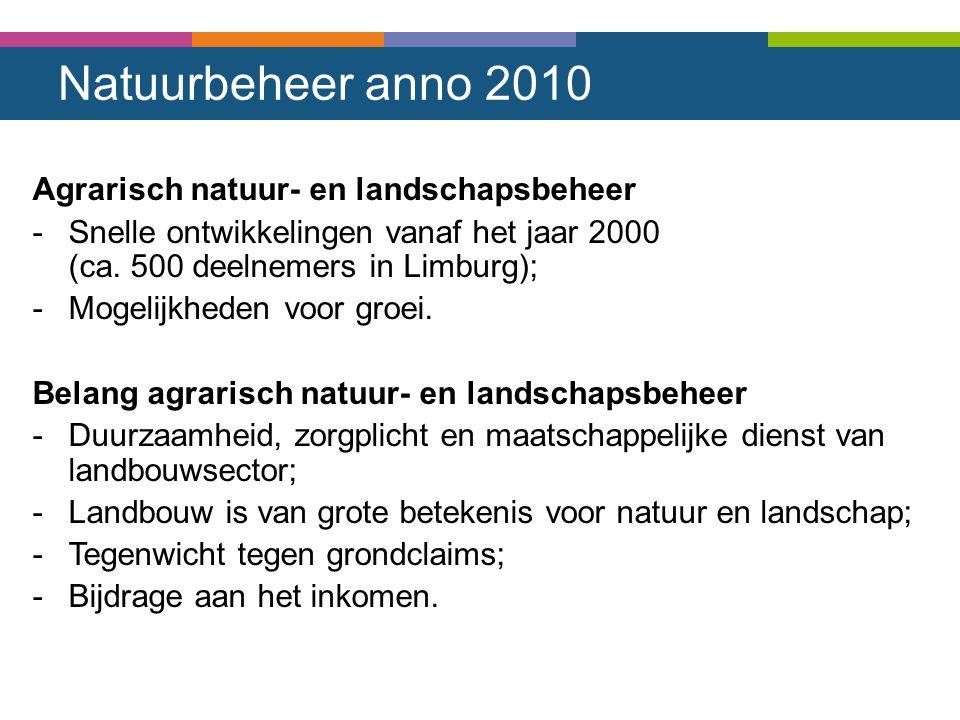 Natuurbeheer anno 2010 Agrarisch natuur- en landschapsbeheer -Snelle ontwikkelingen vanaf het jaar 2000 (ca. 500 deelnemers in Limburg); -Mogelijkhede