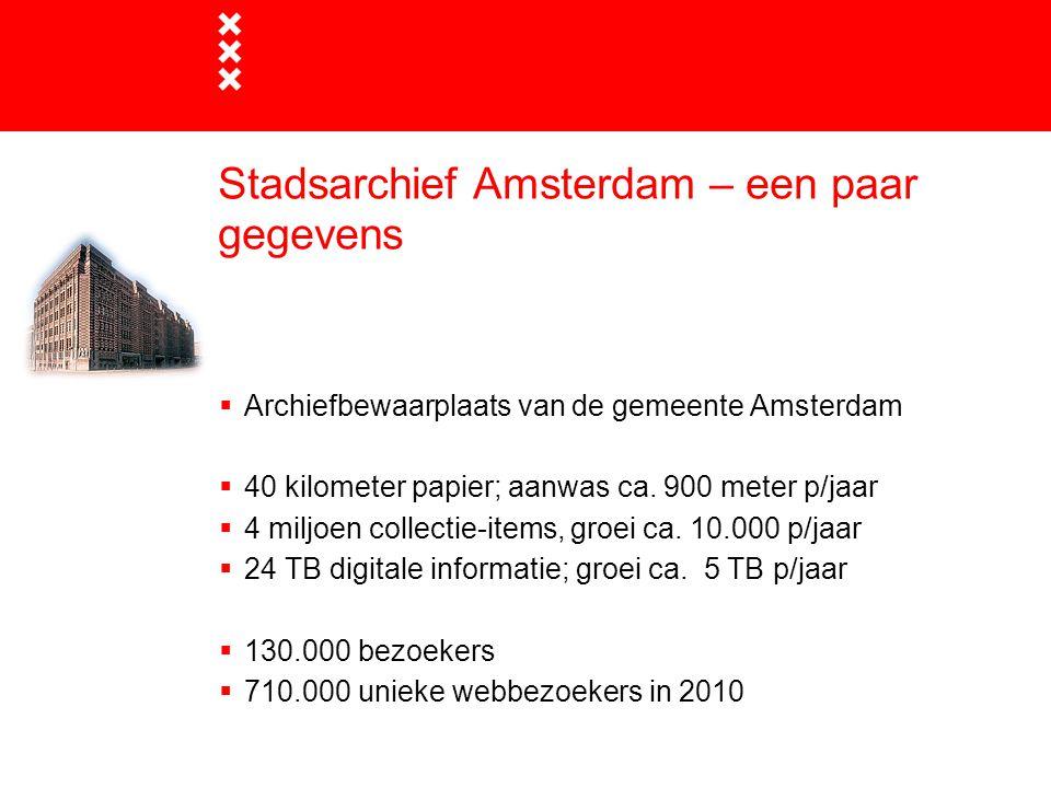 Stadsarchief Amsterdam – een paar gegevens  Archiefbewaarplaats van de gemeente Amsterdam  40 kilometer papier; aanwas ca. 900 meter p/jaar  4 milj