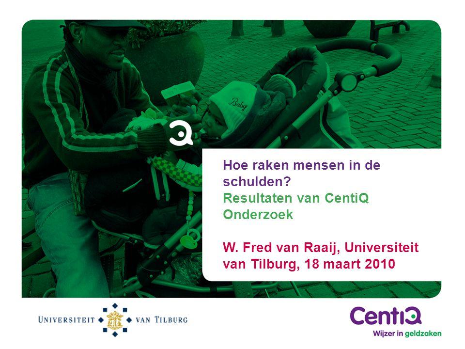 Hoe raken mensen in de schulden? Resultaten van CentiQ Onderzoek W. Fred van Raaij, Universiteit van Tilburg, 18 maart 2010