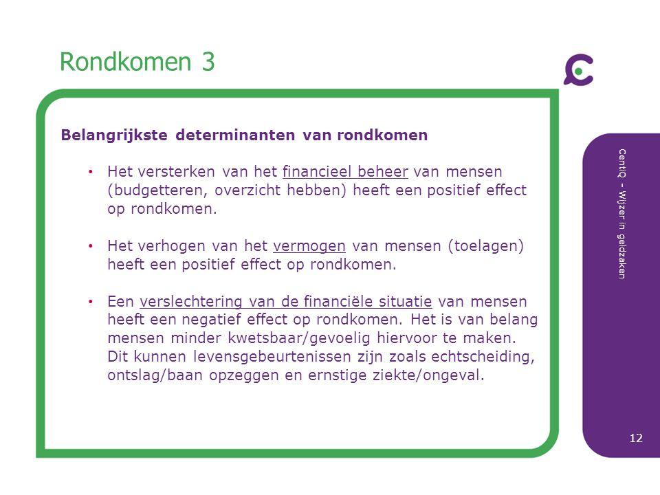CentiQ - Wijzer in geldzaken 12 Rondkomen 3 Belangrijkste determinanten van rondkomen Het versterken van het financieel beheer van mensen (budgetteren