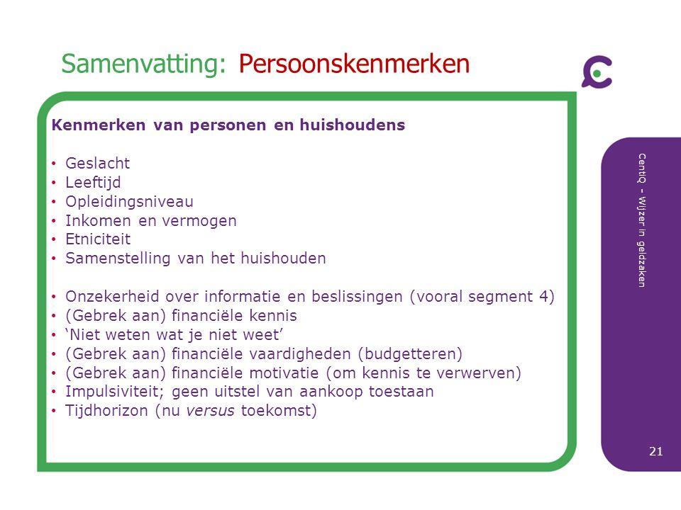 CentiQ - Wijzer in geldzaken 21 Samenvatting: Persoonskenmerken Kenmerken van personen en huishoudens Geslacht Leeftijd Opleidingsniveau Inkomen en ve